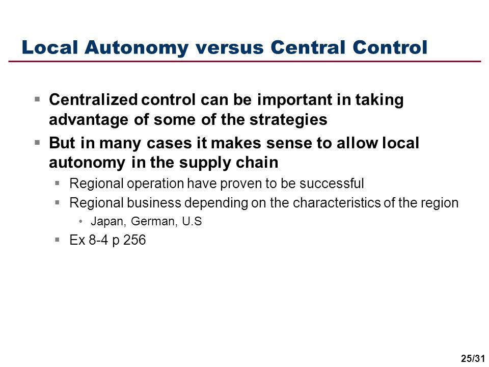 Local Autonomy versus Central Control