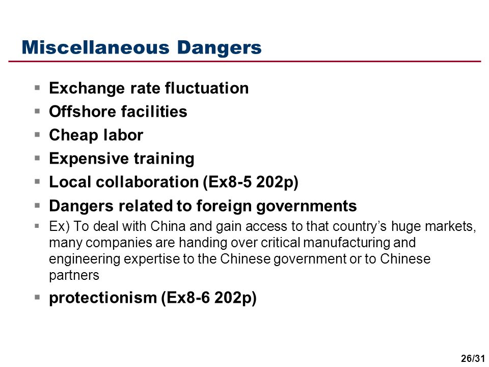 Miscellaneous Dangers