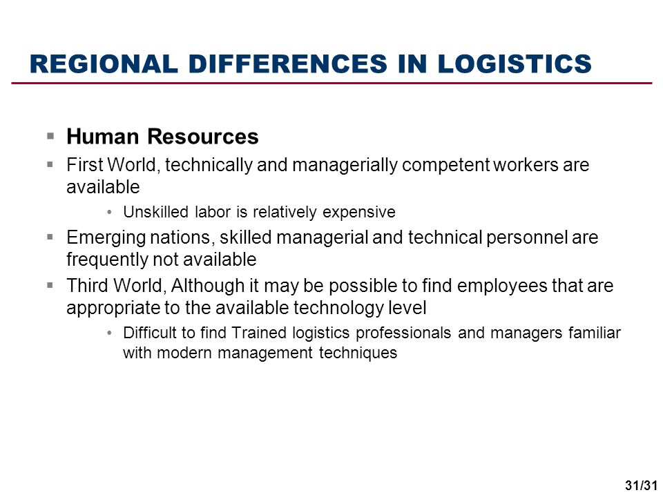 REGIONAL DIFFERENCES IN LOGISTICS