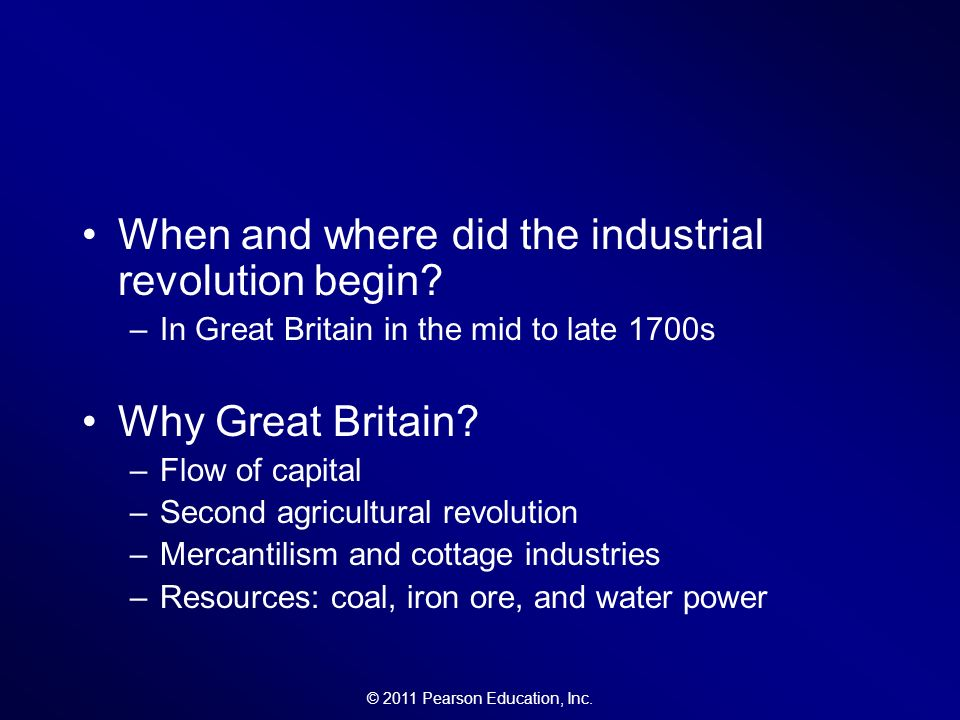 why did the industrial revolution begin The industrial revolution started for many reasons, including population growth and financial innovations the revolution started in england in the 1760s as the population grew, people started moving and forming cities, which increased the demand for products banks also began growing and encouraged people to take investment risks.