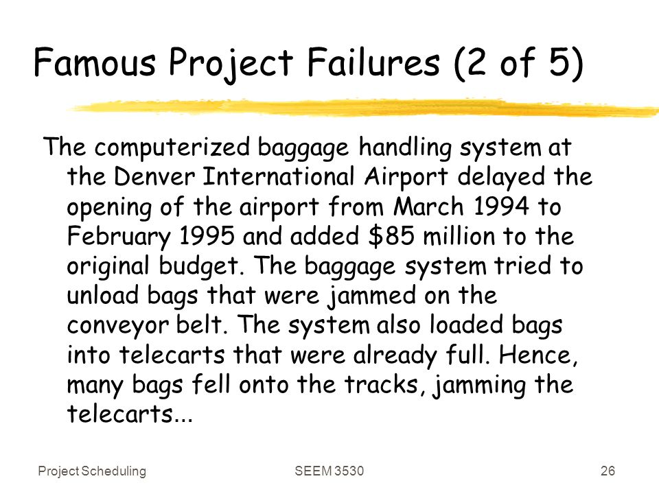 denver international airport failure Denver airport had ambitious plans to route passenger's bags to and from aircraft without significant human intervention the system was called the denver international airport baggage system (dia abs).