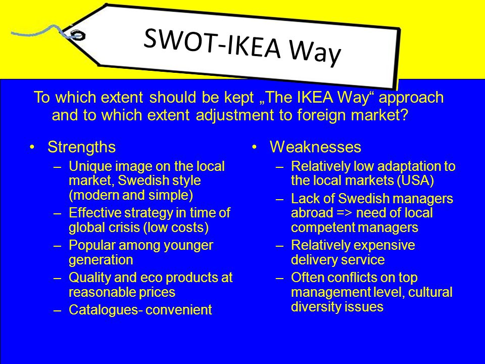 """ikea management style Ikea presents itself as a green company with a social mission mr ohlsson boasts of its charitable work and its aim to use only renewable energy he says he wants his """"co-workers"""" to be happy, honest and inclined to think for themselves he is proud that 40% of the company's 200 top managers are."""