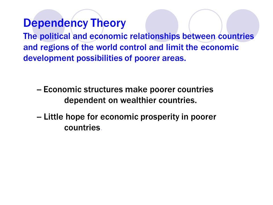 dependency theory in developing countries Neo-marxist dependency theory  21 classical neo-marxist dependency theories  point of view of the developing countries these dependency studies focused on the .
