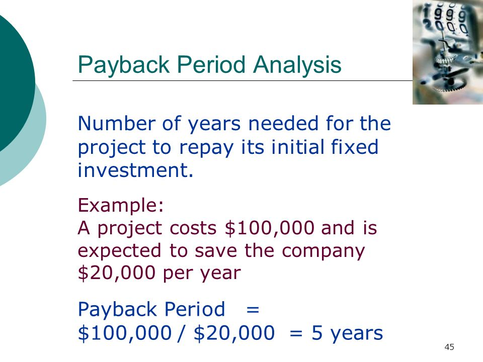 analysing the payback period when making an investment The payback period is 34 years ($20,000 + $60,000 + $80,000 = $160,000 in the first three years + $40,000 of the $100,000 occurring in year 4) note that the payback calculation uses cash flows, not net income.