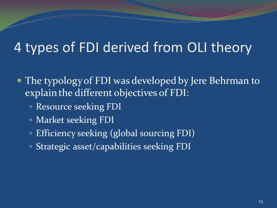 the oli theory An eclectic paradigm is a theory based on a three-tiered framework that a company follows to determine if direct foreign investment would be beneficial.