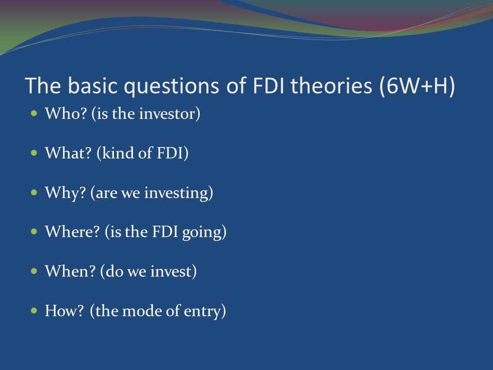 micro and macroeconomic theories of fdi Compare and contrast the main micro and macroeconomic theories of foreign direct investment referring to your home country appraise which of these theories most accurately explains the.