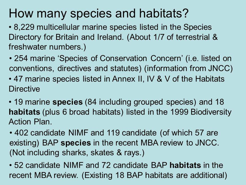 How many species and habitats
