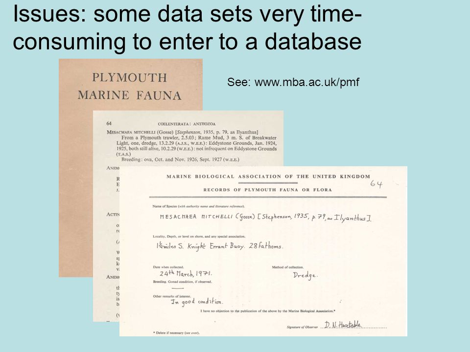 Issues: some data sets very time-consuming to enter to a database