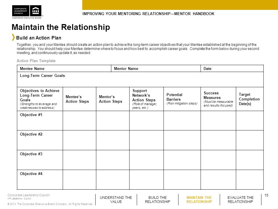 Improving your mentoring relationship mentor handbook for Mentoring application templates