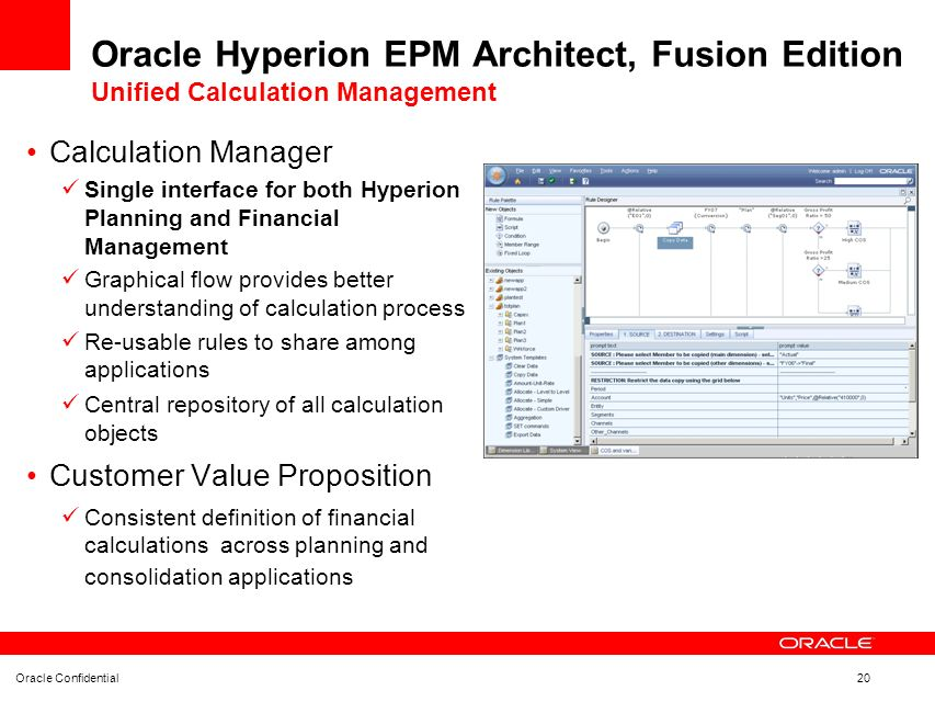 Oracle Hyperion EPM Architect, Fusion Edition Unified Calculation Management