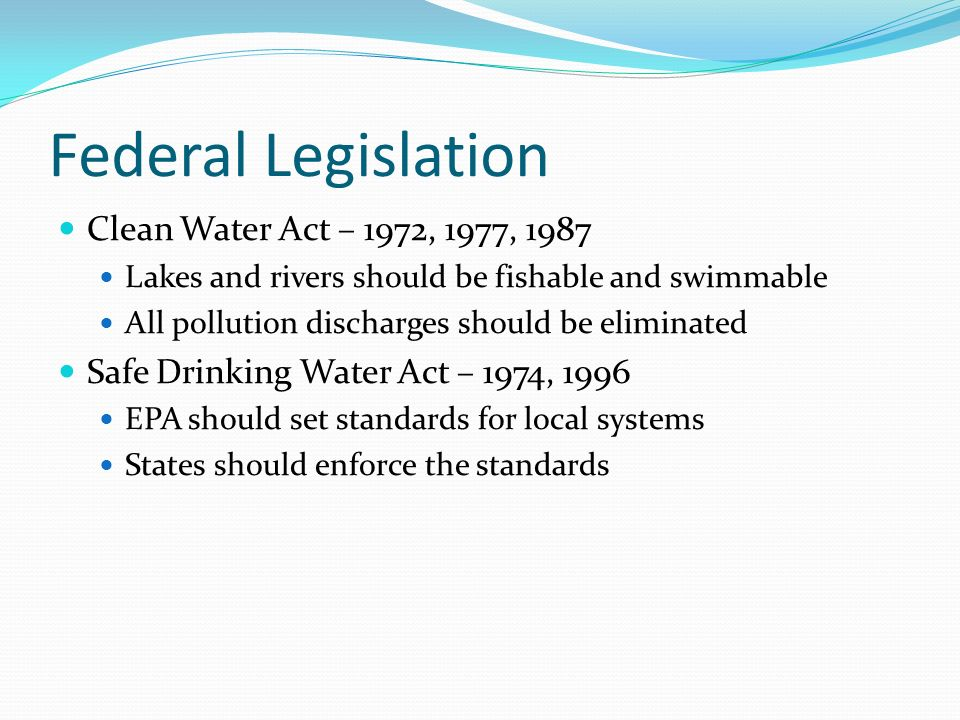 Federal Drinking Water Standards Epa