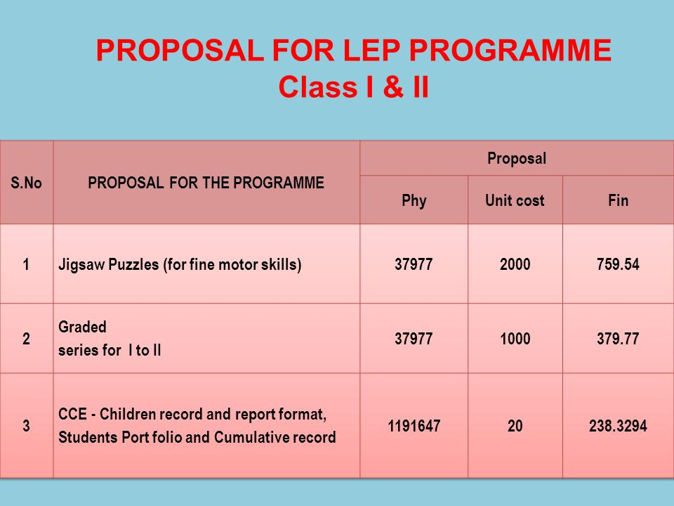 PROPOSAL FOR LEP PROGRAMME PROPOSAL FOR THE PROGRAMME