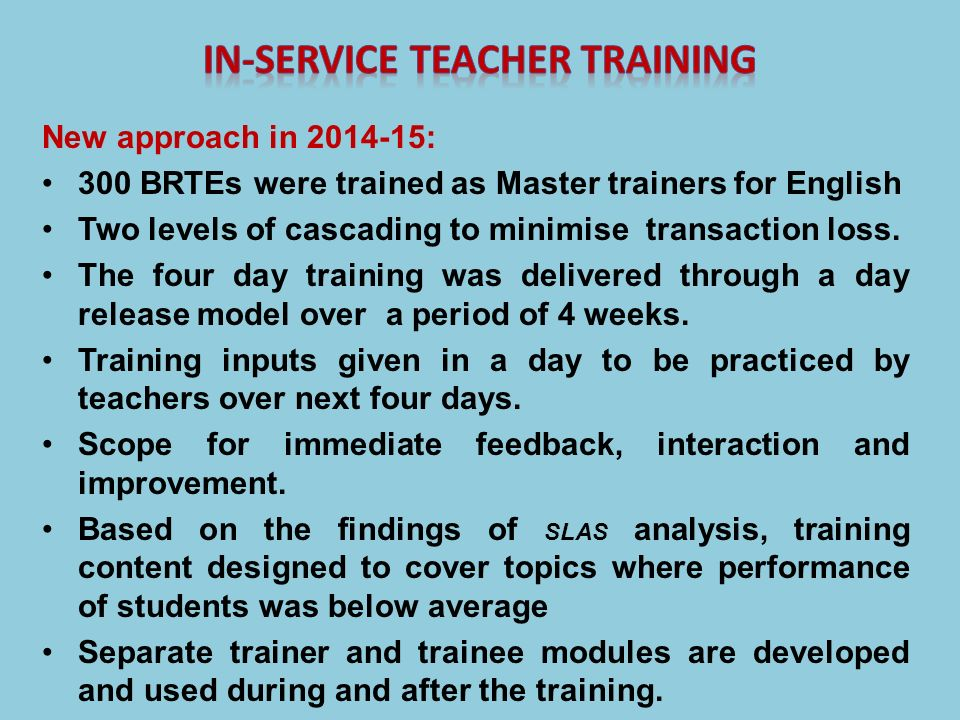 In-service teacher training