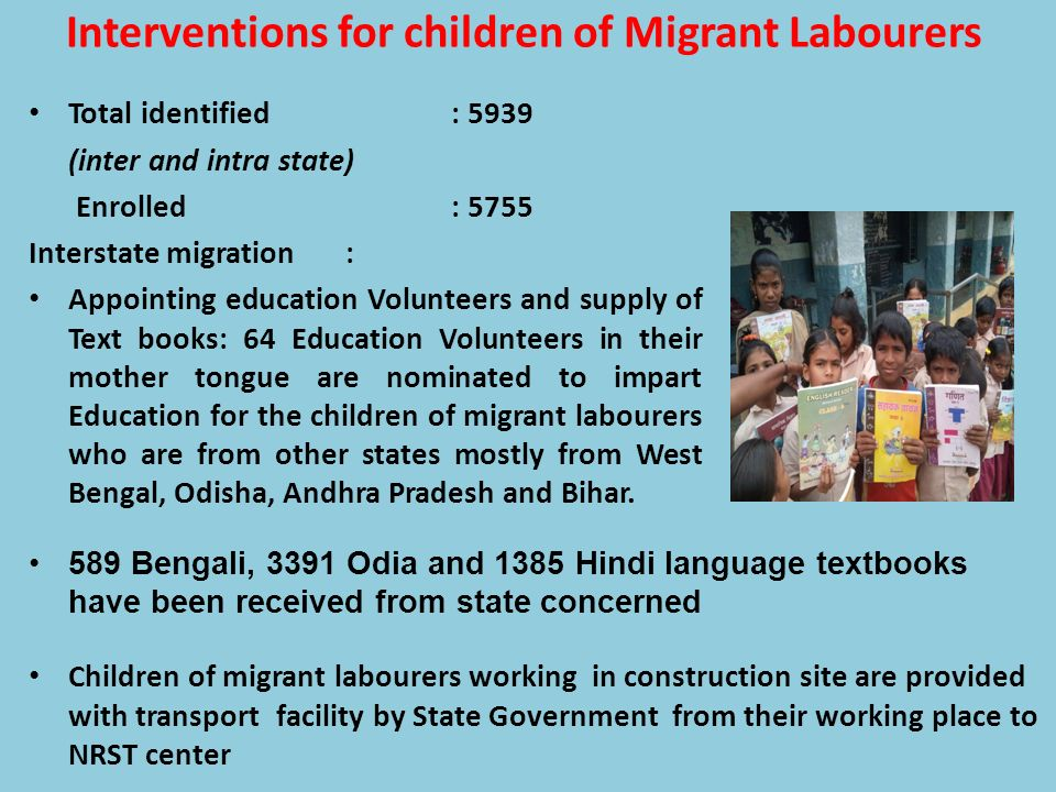 Interventions for children of Migrant Labourers