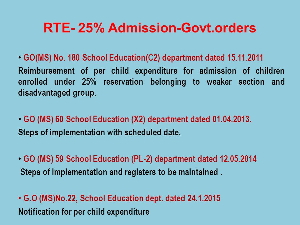 RTE- 25% Admission-Govt.orders