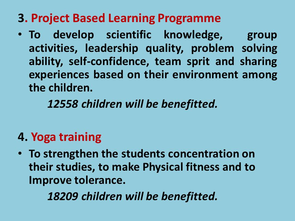 3. Project Based Learning Programme