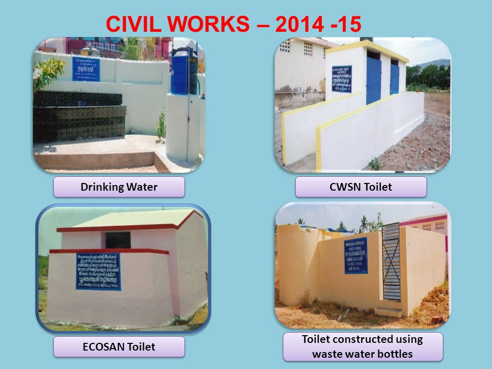 Toilet constructed using waste water bottles