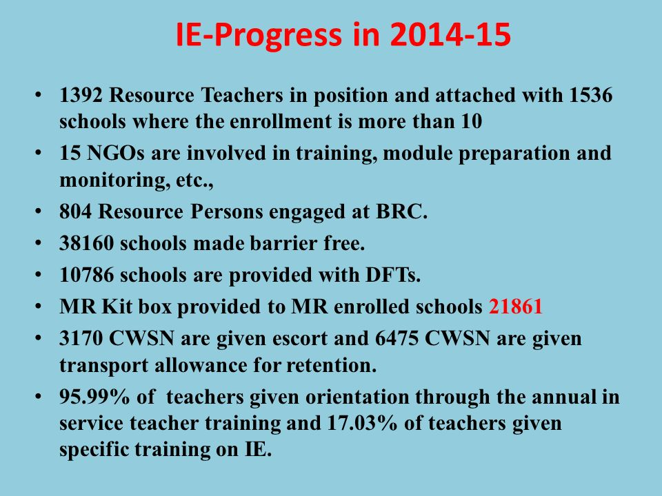 IE-Progress in 2014-15 1392 Resource Teachers in position and attached with 1536 schools where the enrollment is more than 10.