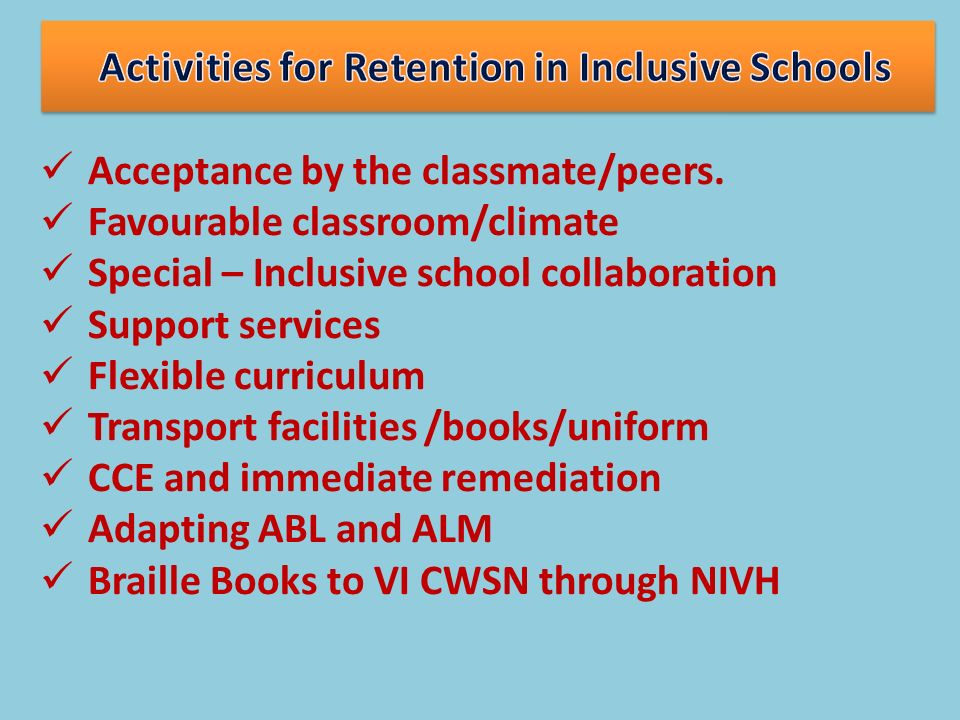 Activities for Retention in Inclusive Schools