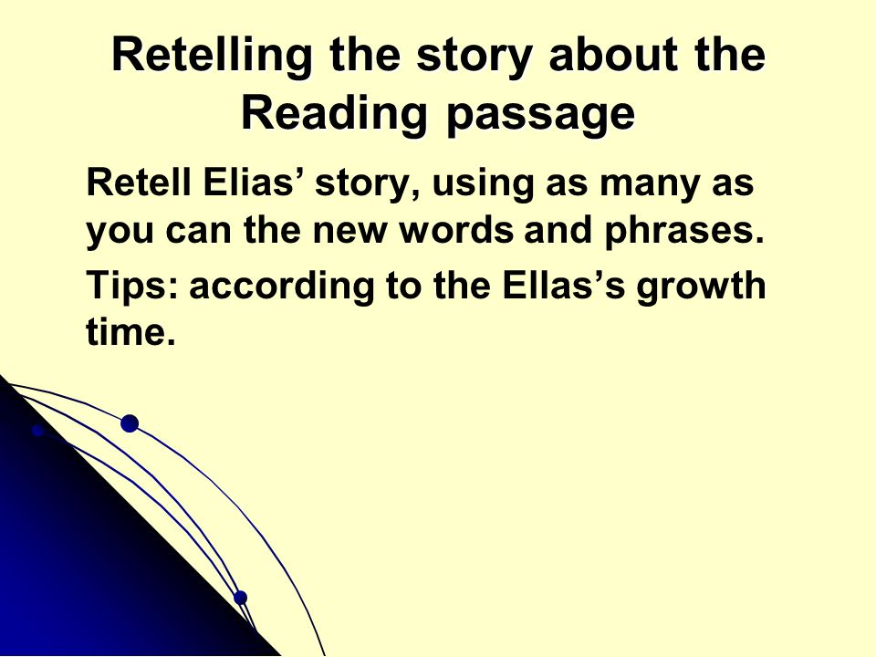 Retelling the story about the Reading passage