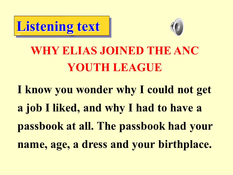 WHY ELIAS JOINED THE ANC YOUTH LEAGUE