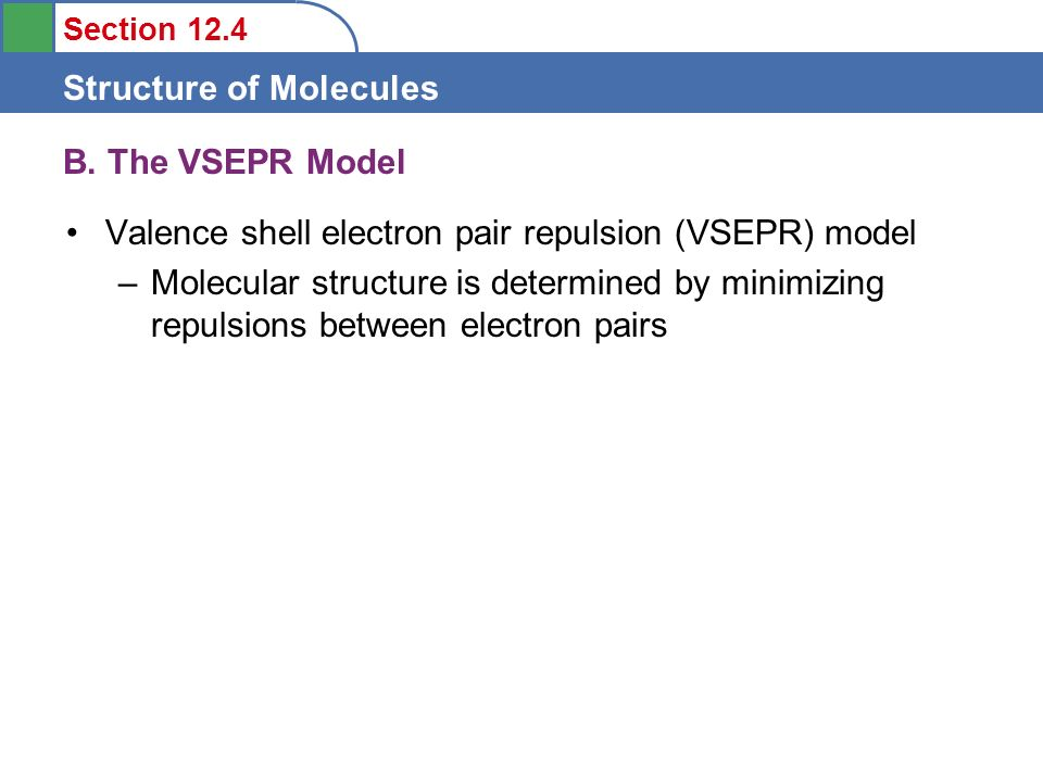 B. The VSEPR Model Valence shell electron pair repulsion (VSEPR) model.