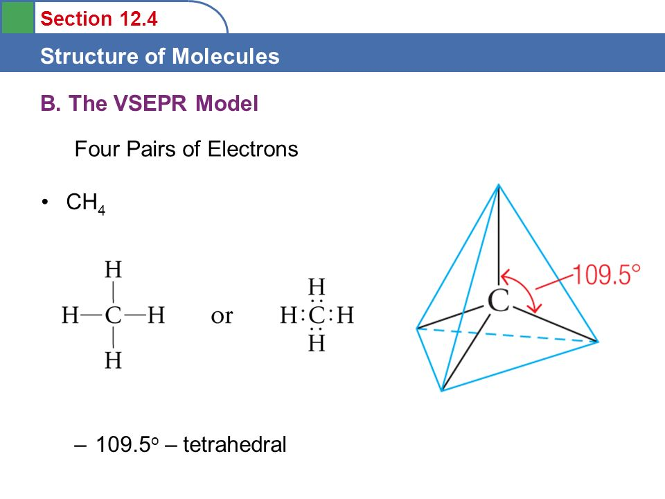 B. The VSEPR Model Four Pairs of Electrons CH o – tetrahedral