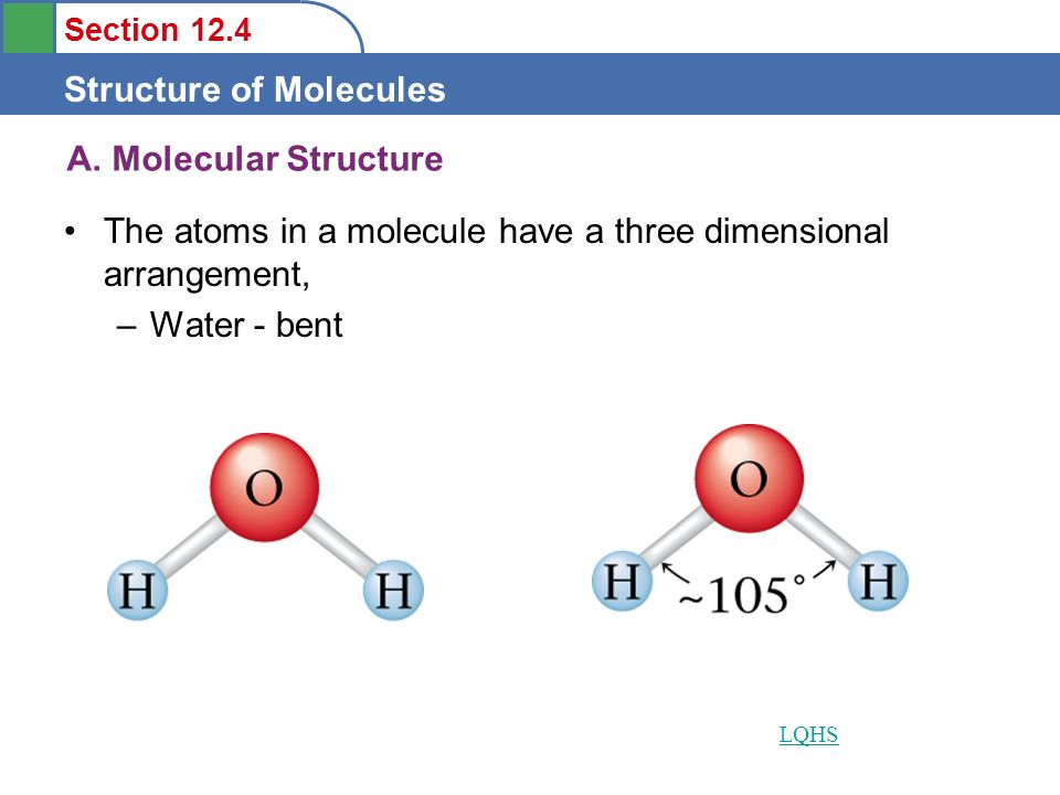 A. Molecular Structure The atoms in a molecule have a three dimensional arrangement, Water - bent.
