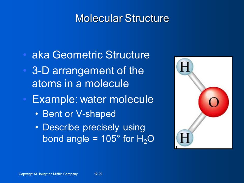 aka Geometric Structure 3-D arrangement of the atoms in a molecule