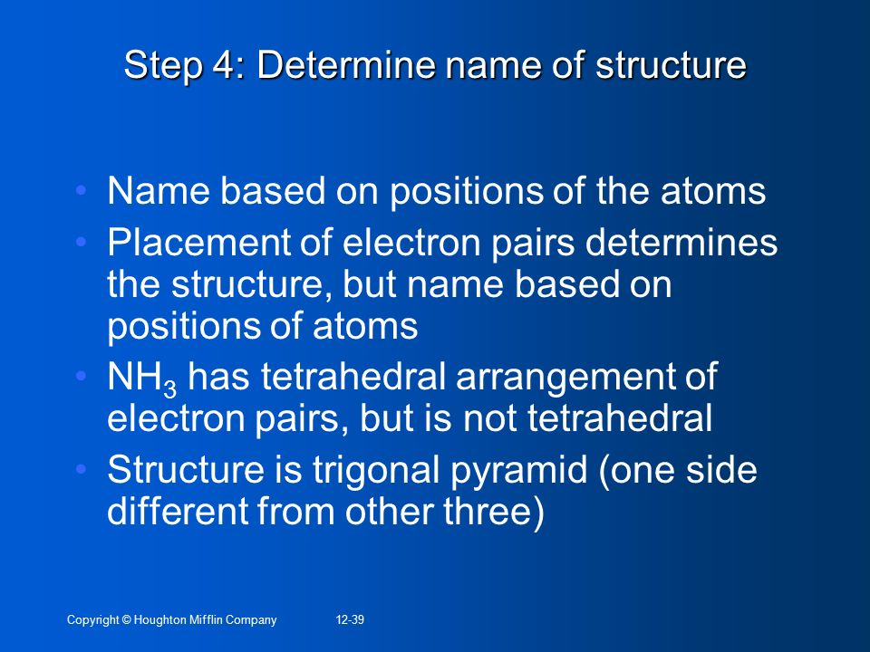 Step 4: Determine name of structure