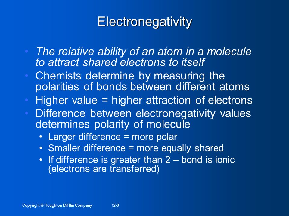 Electronegativity The relative ability of an atom in a molecule to attract shared electrons to itself.