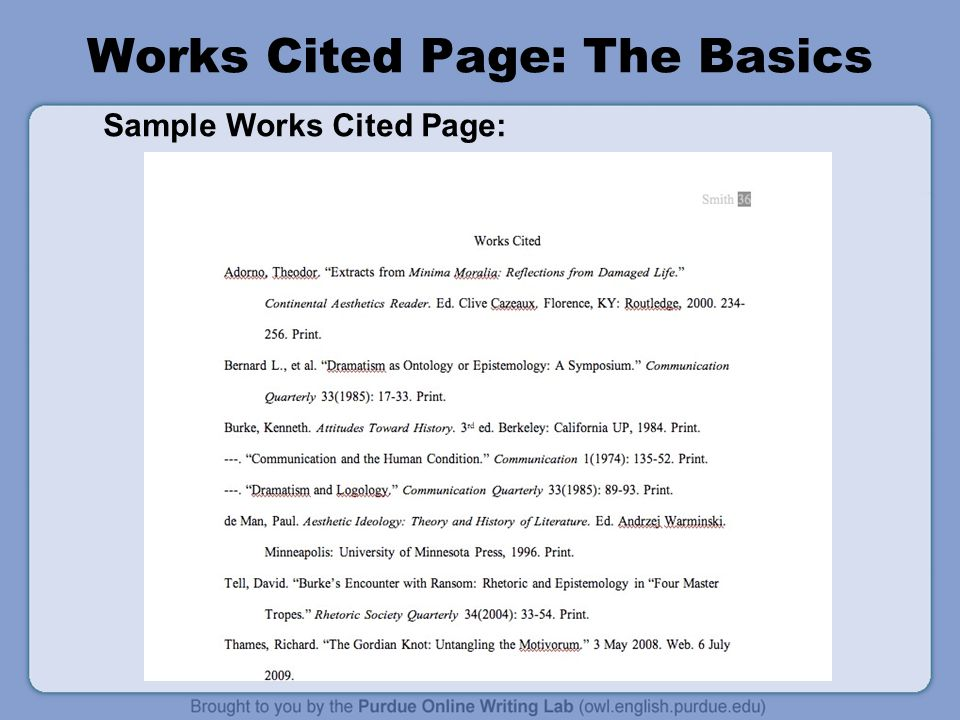 work cited page for research papers This resource, updated to reflect the mla handbook (8th ed), offers examples for the general format of mla research papers,  and the works cited page.