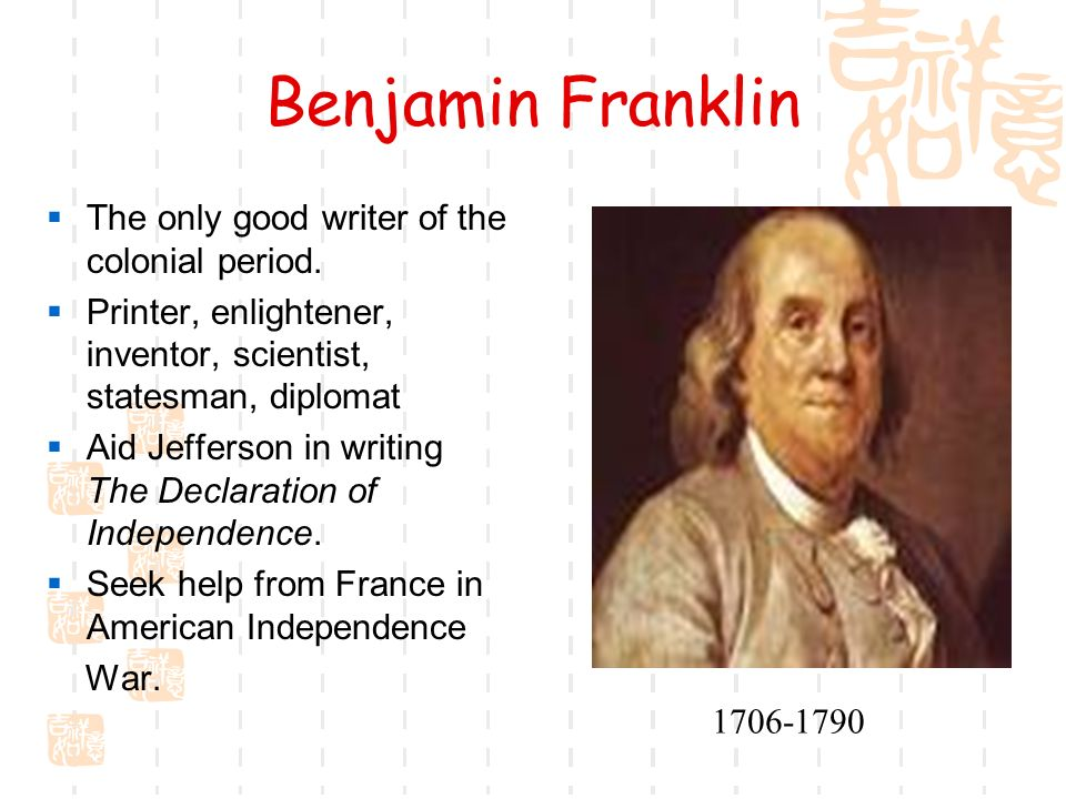 writers of the american revolution benjamin franklin essay Literature term papers (paper 2807) on analysis of the autobiography of benjamin franklin: analysis of the autobiography of benjamin franklin the autobiography of.