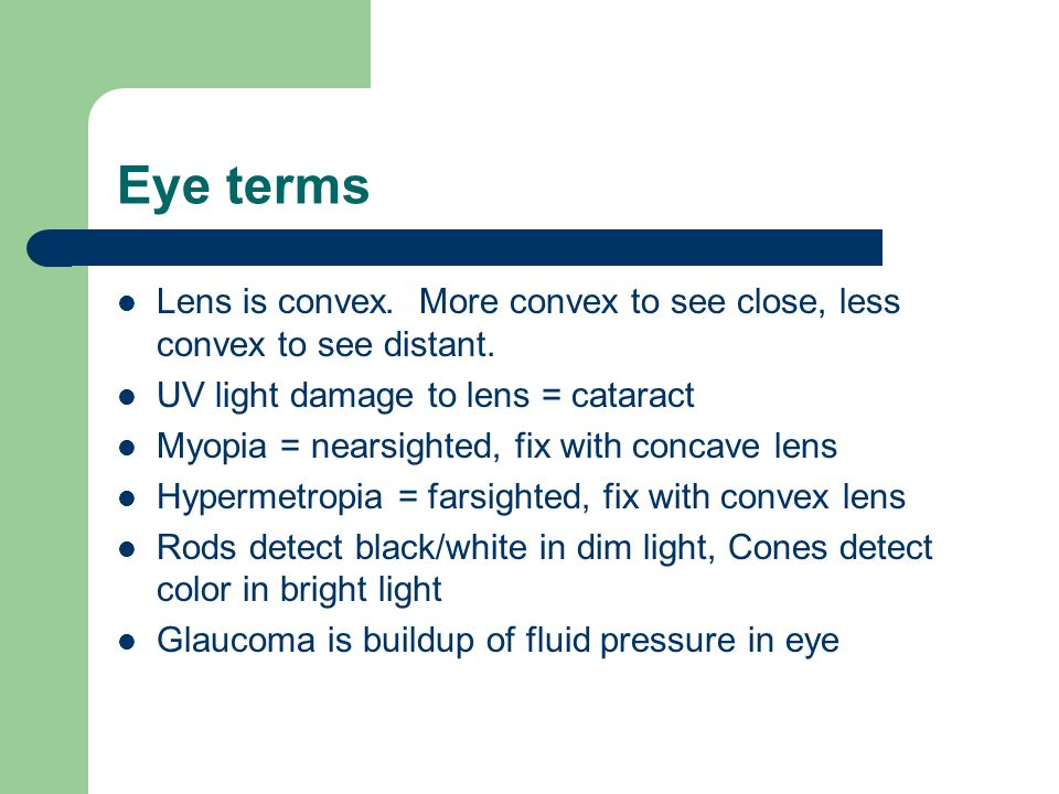 Eye terms Lens is convex. More convex to see close, less convex to see distant. UV light damage to lens = cataract.