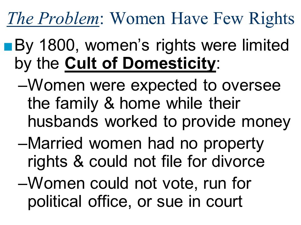 The Problem: Women Have Few Rights