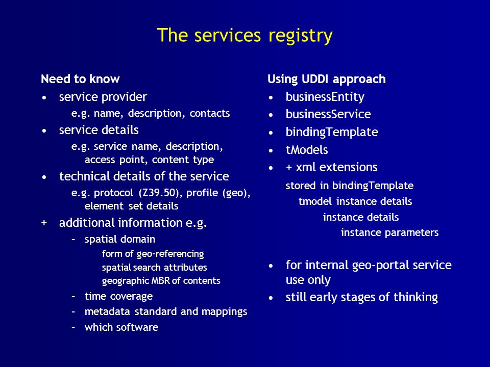 The services registry Need to know service provider service details