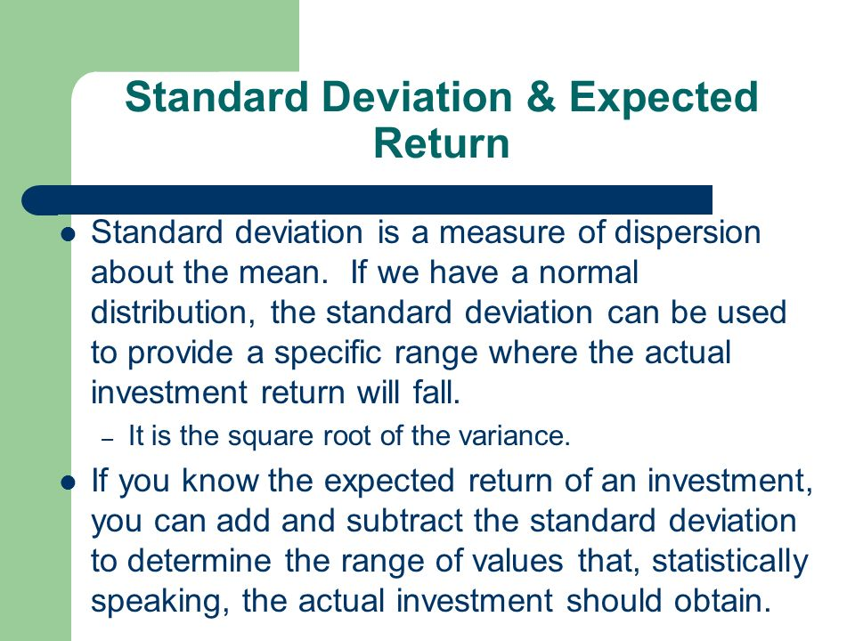 expected return and standard deviation relationship to variance