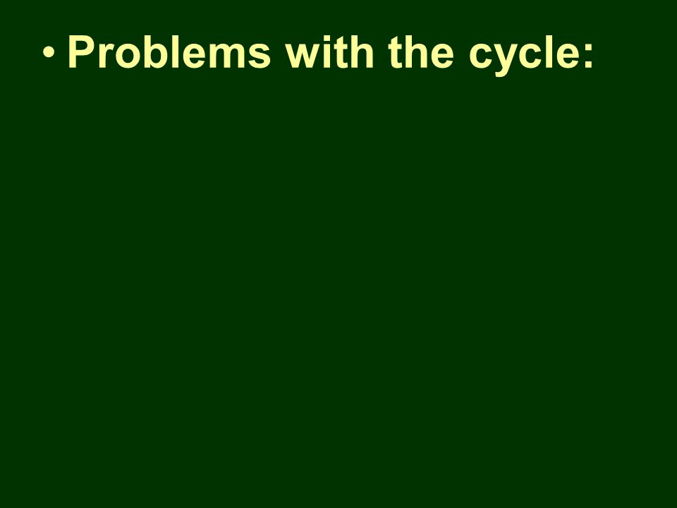 Problems with the cycle: