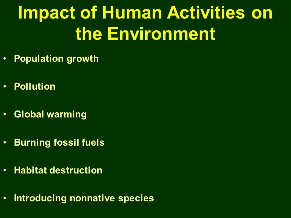 Impact of Human Activities on the Environment