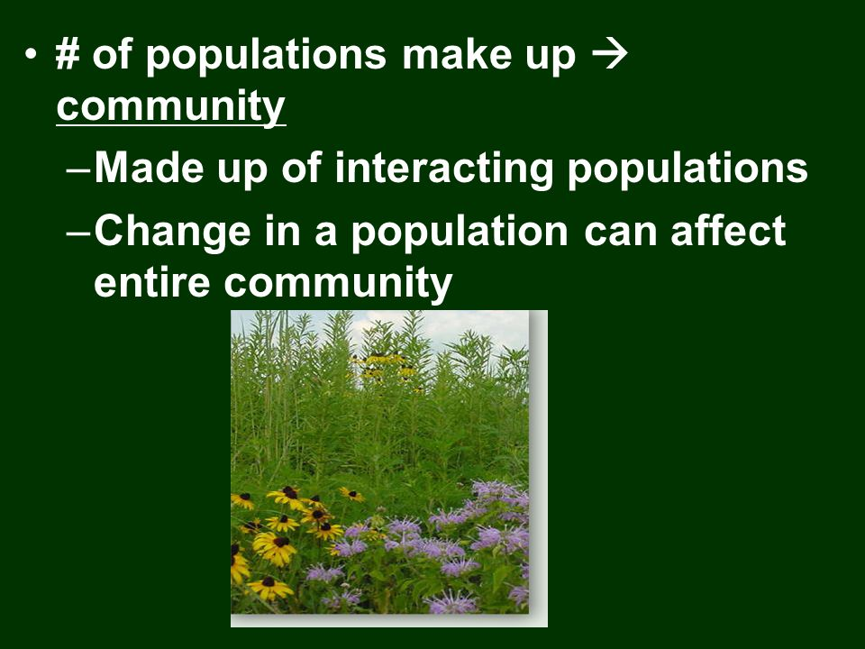 # of populations make up  community
