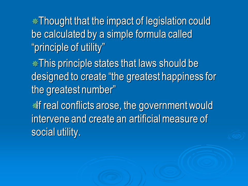 To Consider the Influence of Legislation in Relation