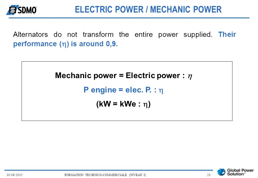 ELECTRIC POWER / MECHANIC POWER