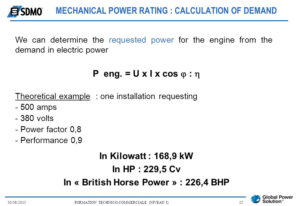 MECHANICAL POWER RATING : CALCULATION OF DEMAND