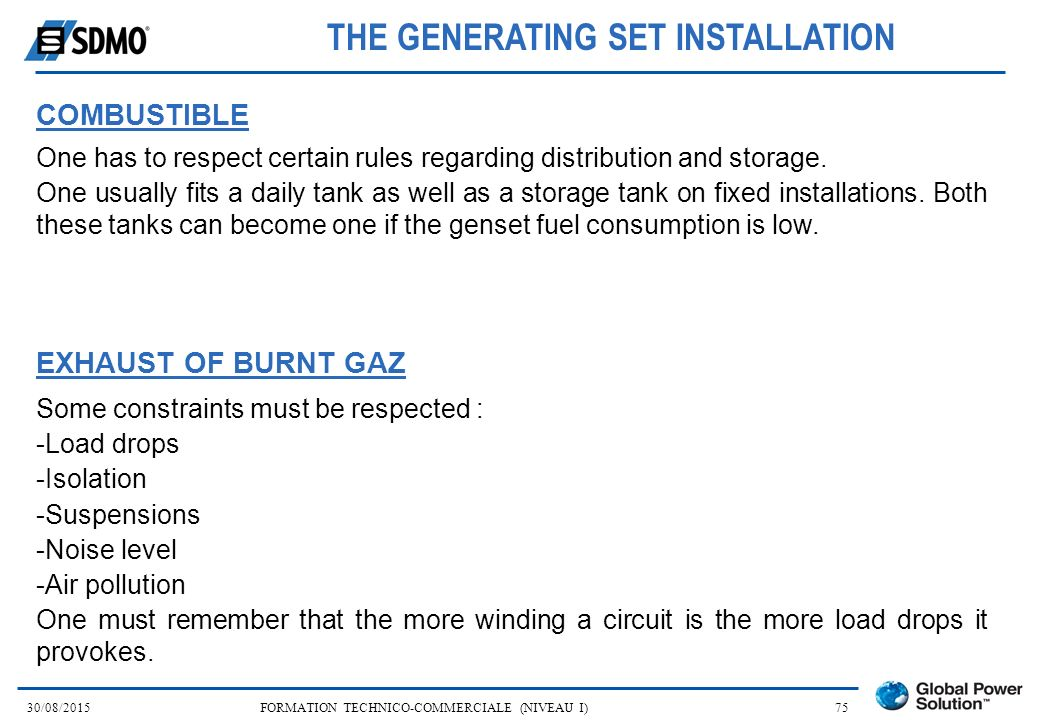 THE GENERATING SET INSTALLATION