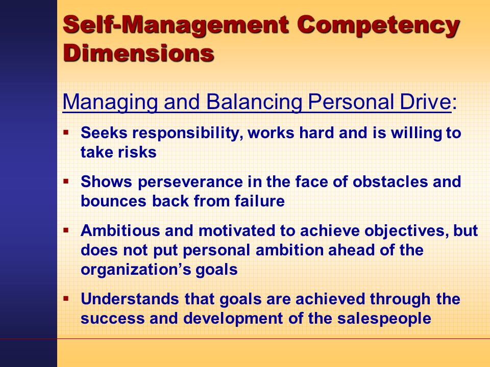 self management competency essay Self awareness & career management essay sample 1the definition of self-awarenessbeagrie (2005) define self-awareness is at the core of.