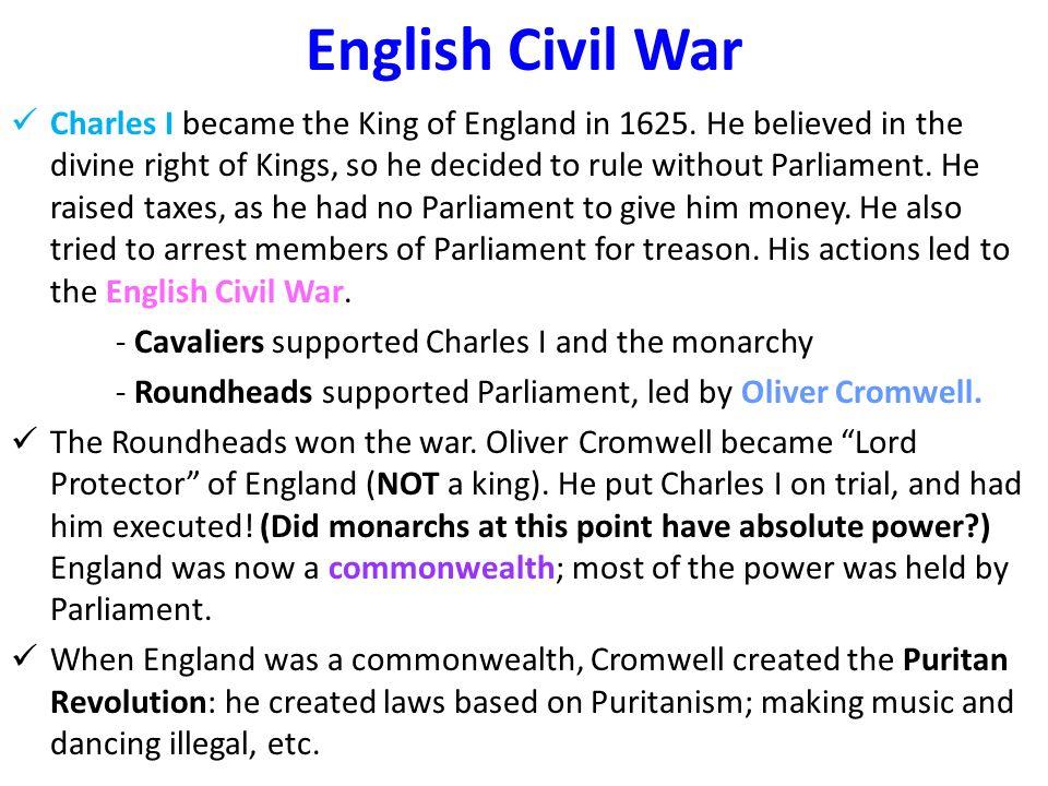 the english civil war did money