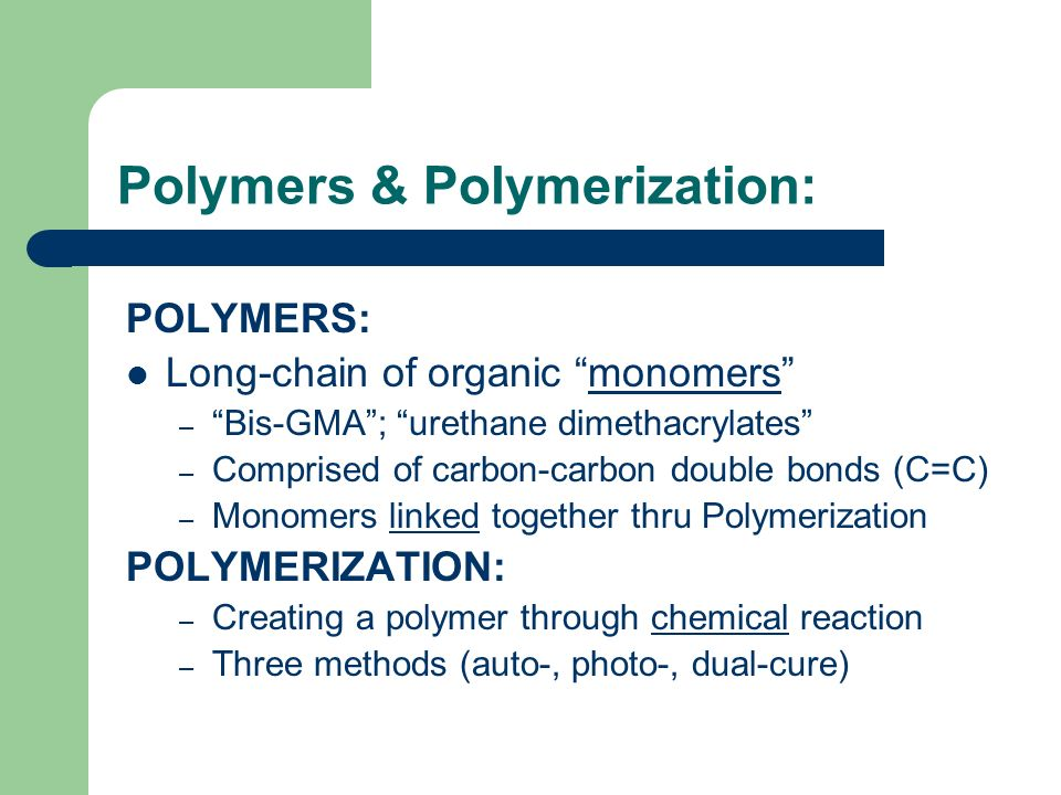 polymerization composite resins dental chemistry Chemistry of resin system  introduced a composite to the dental  the kinetics of the initiation and polymerization of the filtek silorane resin were.