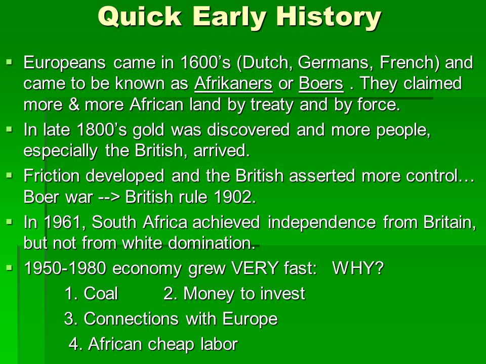 Quick Early History
