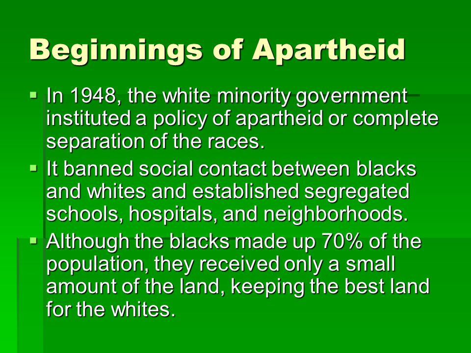 Beginnings of Apartheid