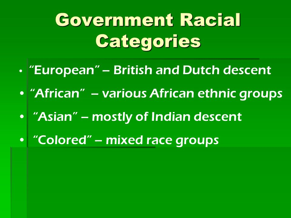Government Racial Categories